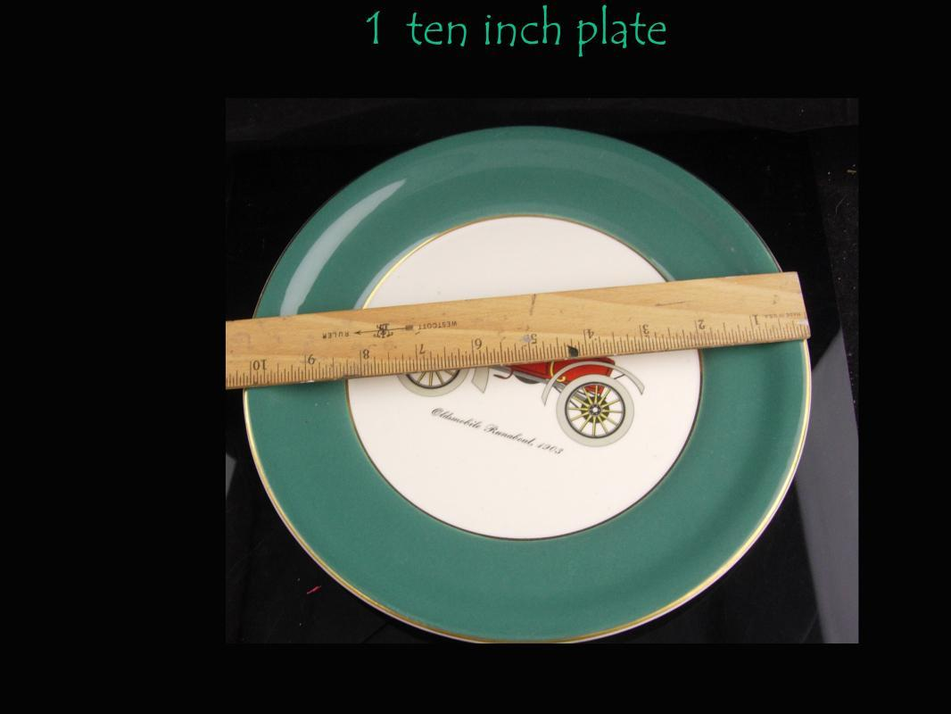 Vintage  Antique automobile cake plate set - Vintage Harker car pottery - 22kt gold - Autocar Runabout -selden durea motor wagon - Winton