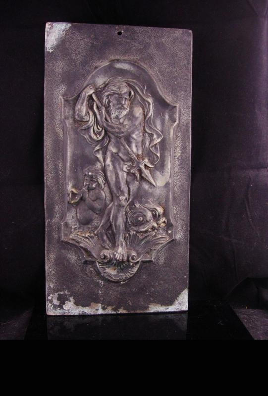 Neptune Antique Relief Plaque - Greek God & Cherub  - 16