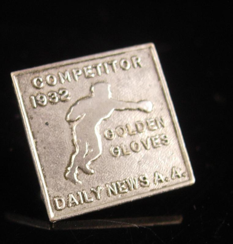 1932 Boxing Glove A.A. medal - antique Dieges & Clust Golden gloves pin - Boxer screw back collar pin