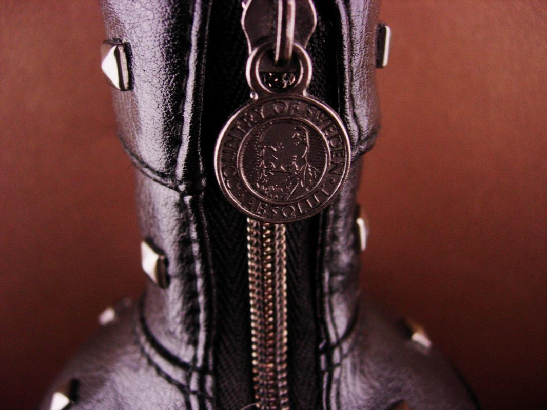 Vintage Leather stud Bottle cover -Absolut zipper black leather - designer Natalia Brilli - S&M gift