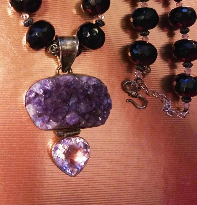 125 CT Amethyst necklace - huge statement heart pendant - ooak - purple faceted beads