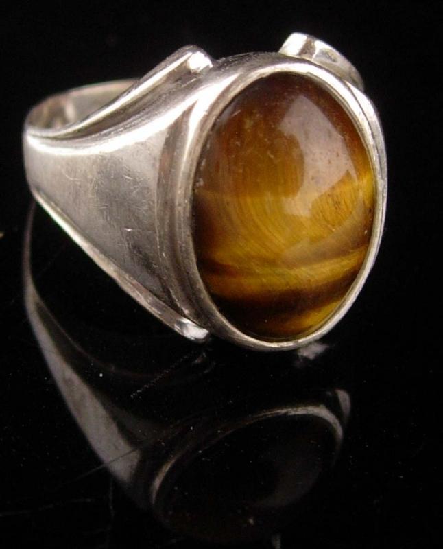 Vintage Mens Tiger Eye Ring - sterling tigereye - size 11 - Spiritual stone - Good luck gift - hallmarked jewelry