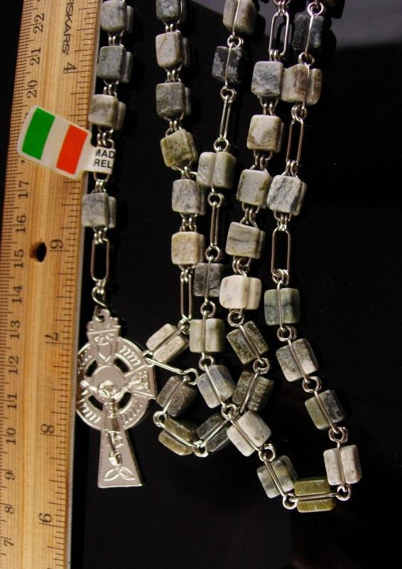 Irish Rosary - Connemara Marble - Irish wedding - celtic cross - Silver Crucifix - Irish Blessing -Ireland Gift