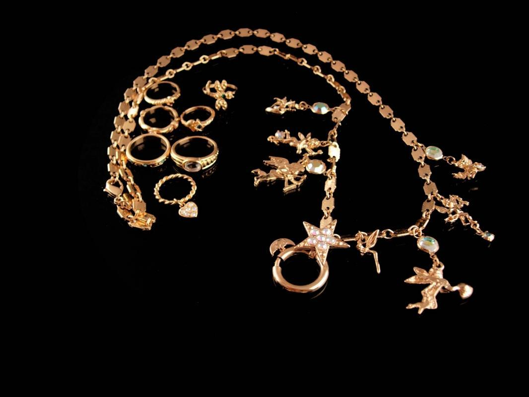 Mystical Fairy Necklace - Moon Charm holder - Kirks Folly - 7 extra Ring Charms - Goddess dragonfly Angels