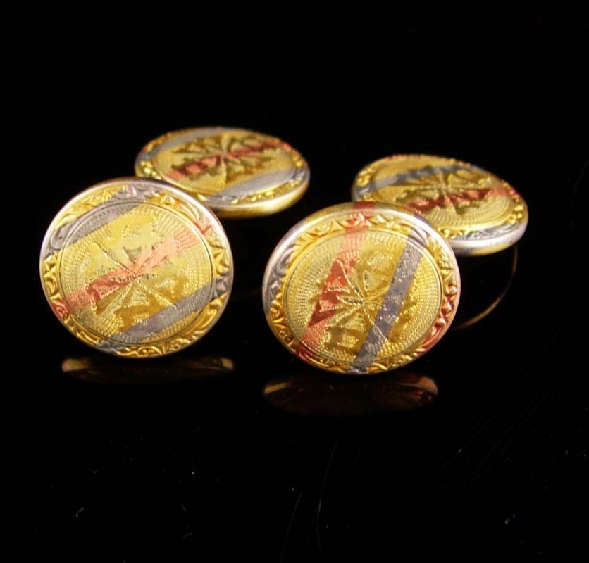 Antique Blackhills gold Cuff links Victorian Talon Grip Trade Mark Cufflinks Rose gold groom cufflinks Fine estate Jewelry blackhills