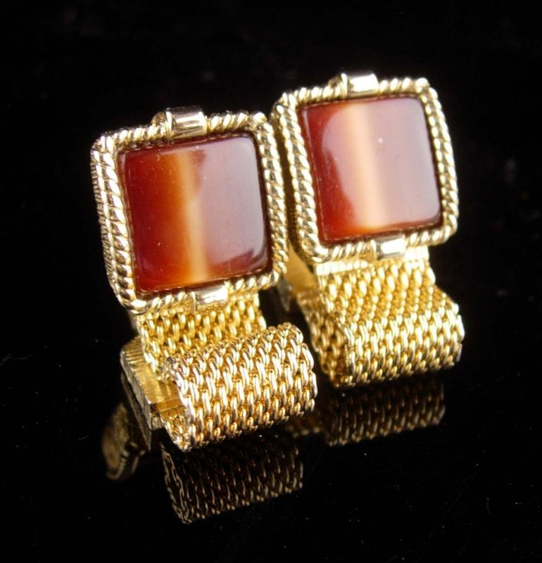 Vintage cuff links Tiger Eye set - swank brown tuxedo Cufflinks-  Encased Gold Design Vintage Mesh Wrap