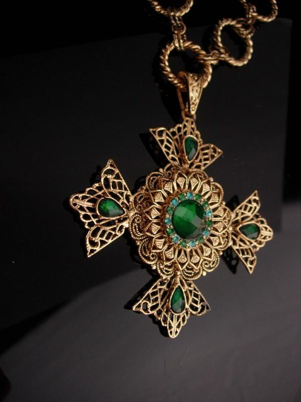 Huge Maltese Cross necklace - Green Celtic cross - medieval necklace - renaissance revival  - estate costume jewelry