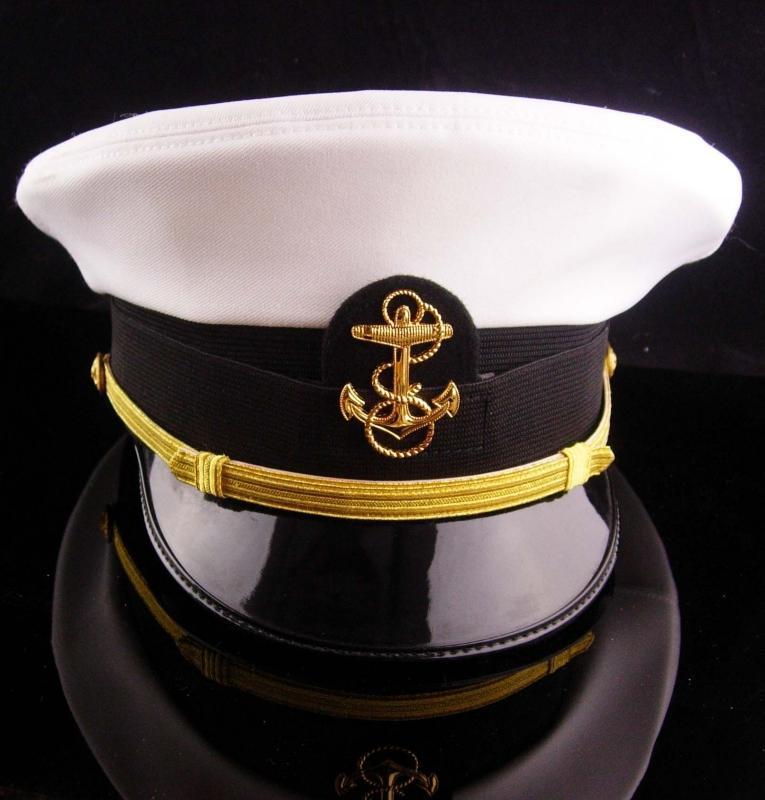 Vintage USN officer hat - US NAVY white mens Officers Hat -  Size 7 Bancroft Cap - Military anchor eagle