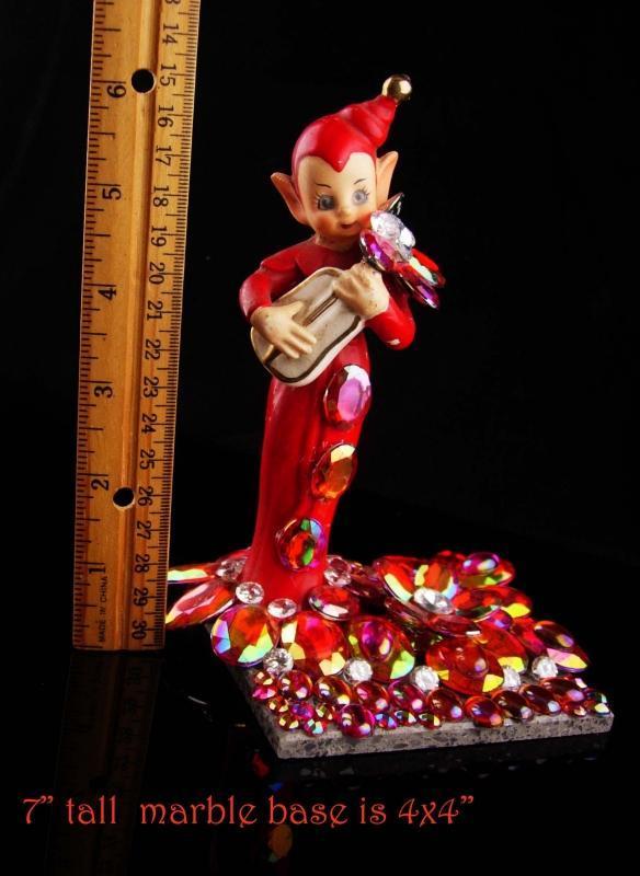 Vintage 40's Elf  / miniature Gnome figurine / Rhinestone marble base / novelty santa helper /  pixie spirit statue / christmas gift
