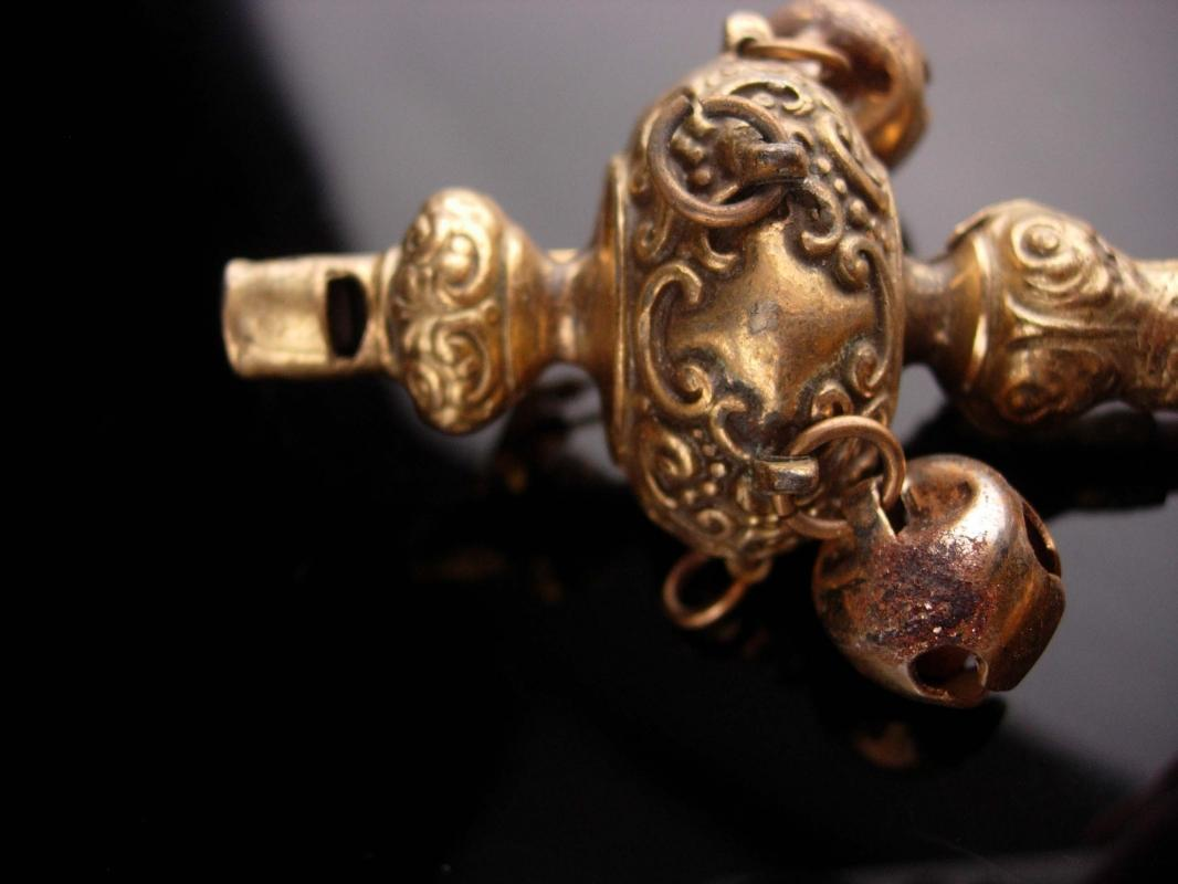 Antique Baby Rattle whistle - Vintage bells and amber teether - converted fur clip - chinese design