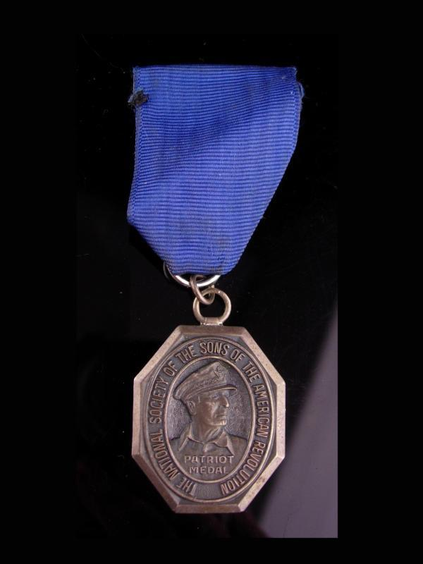 Vintage Sons of the Revolution Sterling Silver Medal - 1977 Maine - Revolutionary  A. Hamilton - hallmarked B - military badge