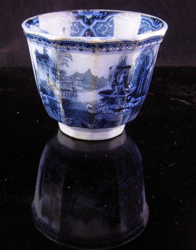1800s English Staffordshire china - handless tea Cup - Antique flow blue - early Victorian