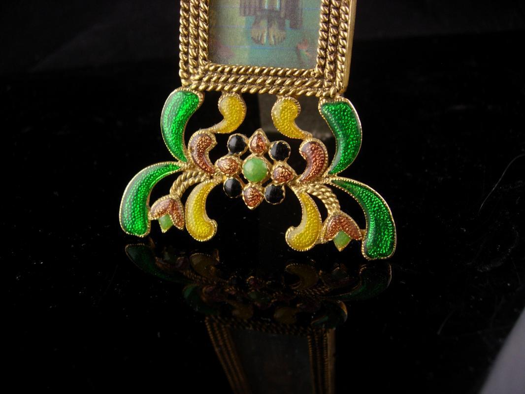 Art Deco  Religious framed Art - Miniature free standing brass frame - enamel floral design 7 1/2 x 2 1/2