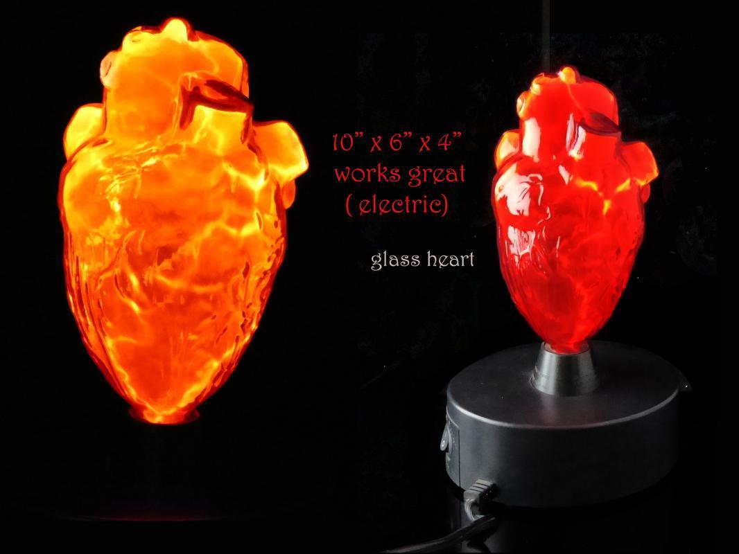 Vintage Light Up glass Heart lamp - science model - Anatomical Medical art - 10