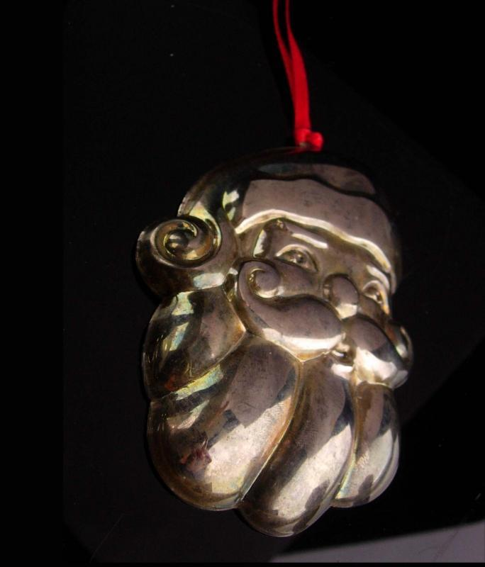 Antique Santa ornament - silver holloware - inscribed merry Christmas - silver rattle or whistle- Victorian Santa Claus