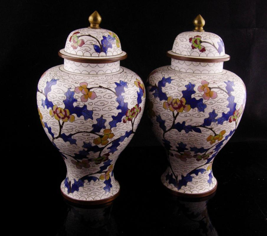 Pair Antique urns - chinese enamel jardiniere - 8 1/2