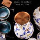Pair Antique urns - chinese enamel jardiniere - 8 1/2