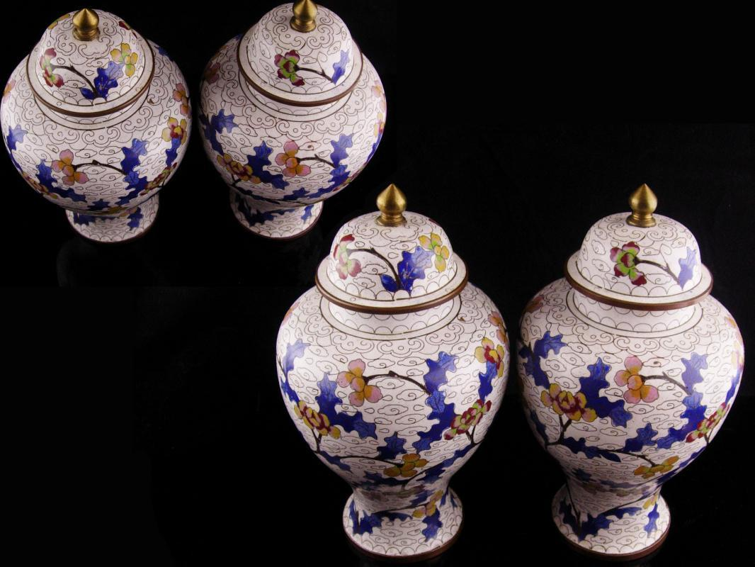 Pair Antique urns - chinese enamel jardiniere - lidded jars - matching set
