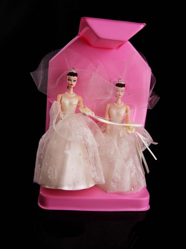 1987 Barbie wedding ornaments - 2 barbies - no ken- gay interest - lgbt gift - wedding dress cake topper