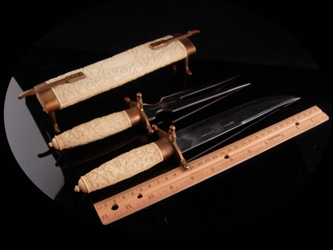 Medieval Cutlery set - samurai set - fifth avenue renaissance revival - meat knife & fork - vintage Englishtown serving pieces