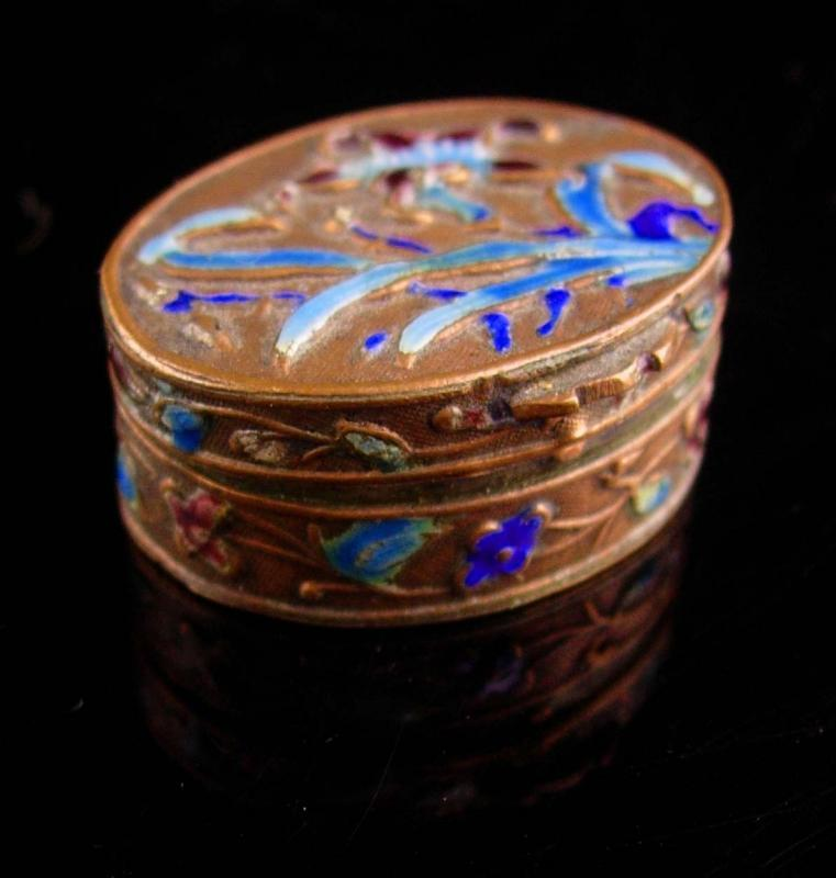 Antique Chinese Box - miniature enamel ring casket -  Asian flowers Oriental lotus blossom  keepsake jewelry case Vintage metal hinged