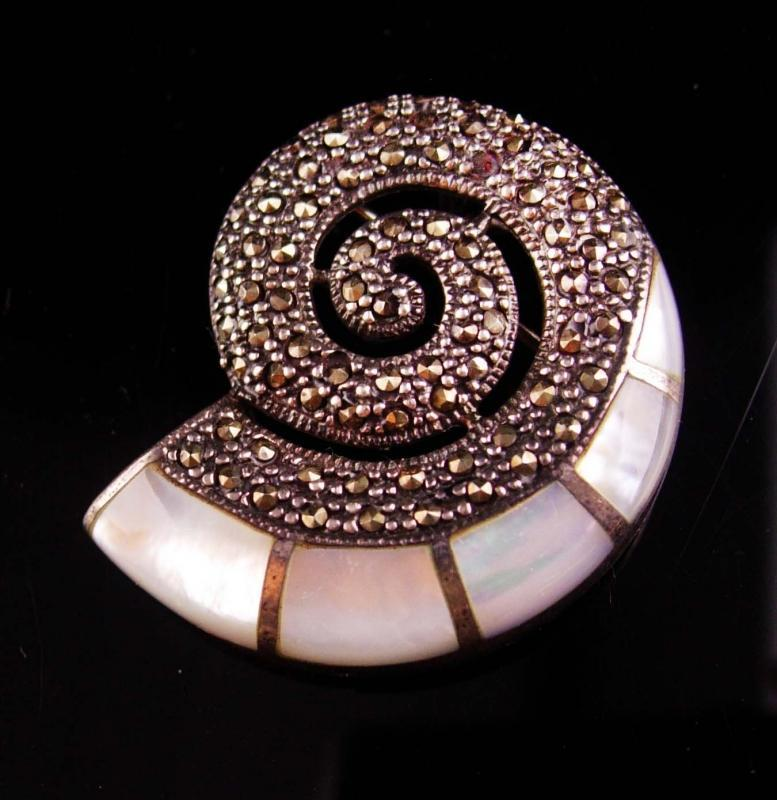 Vintage Signed Snail Brooch - sterling marcasite pendant - mother of pearl inlay talisman - gold filled 20