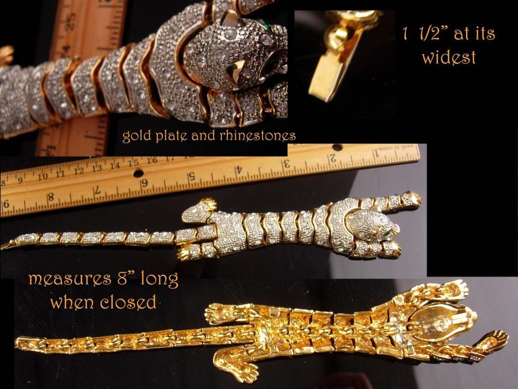 Rhinestone Panther bracelet - BIG Cat leopard - wrap rhinestone - vintage gold tiger bracelet leopard womens animal lover