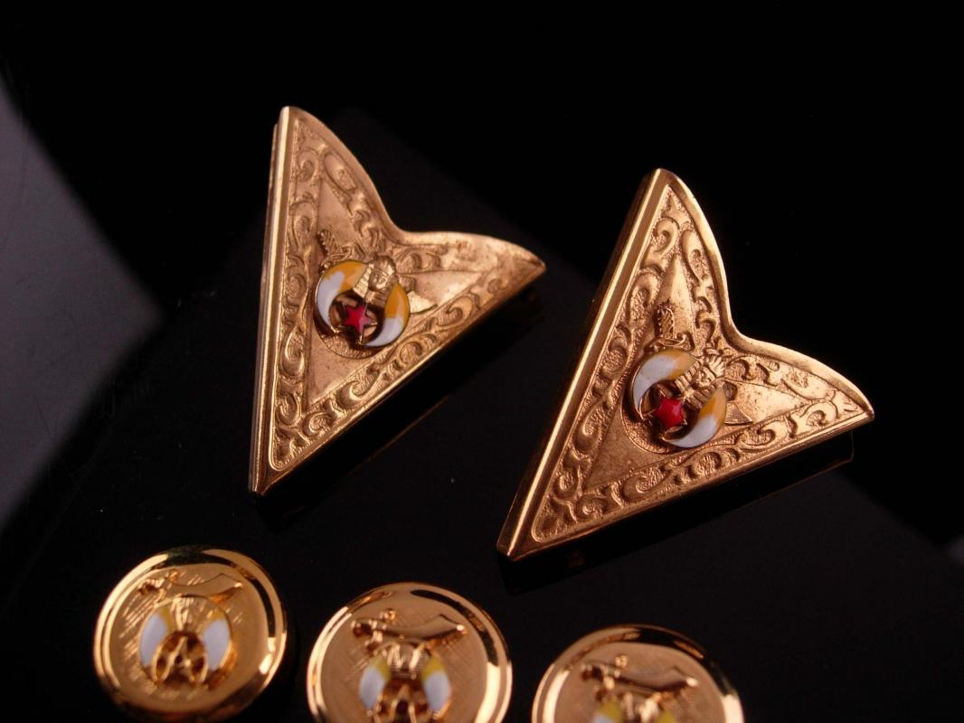 Vintage Masonic Collar ends - Shriner button cover set - gold tips -  free masonary enamel set - gift for dad