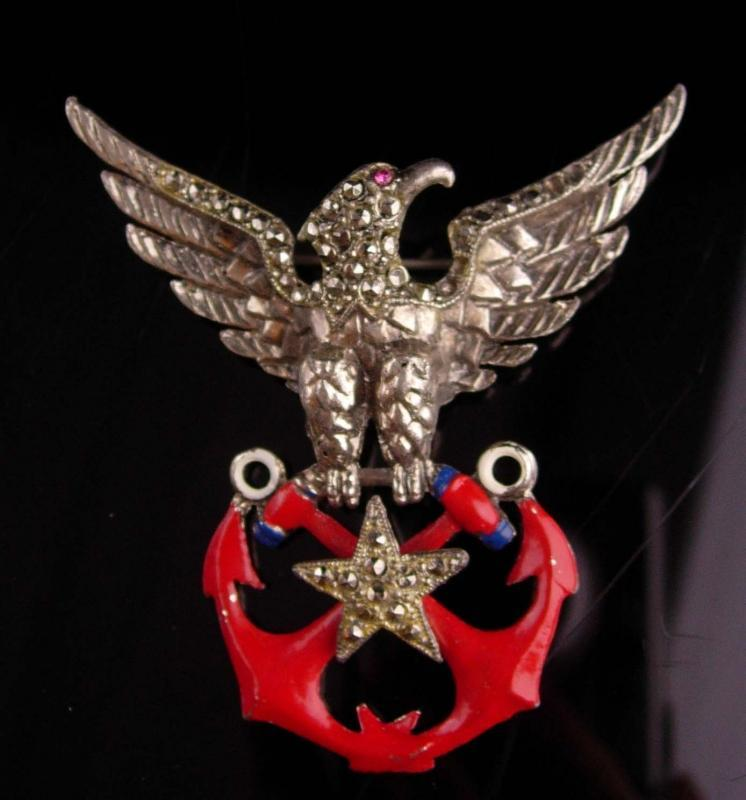 Vintage military brooch - ww11 1940 vintage patriotic brooch - eagle anchor Navy pin - Military eagle - rhinestone red enamel stars