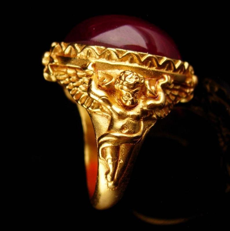 Victorian Cherub Ring - vintage signed estate jewelry - cubid cabochon ring - gothic jewelry - Elizabeth taylor