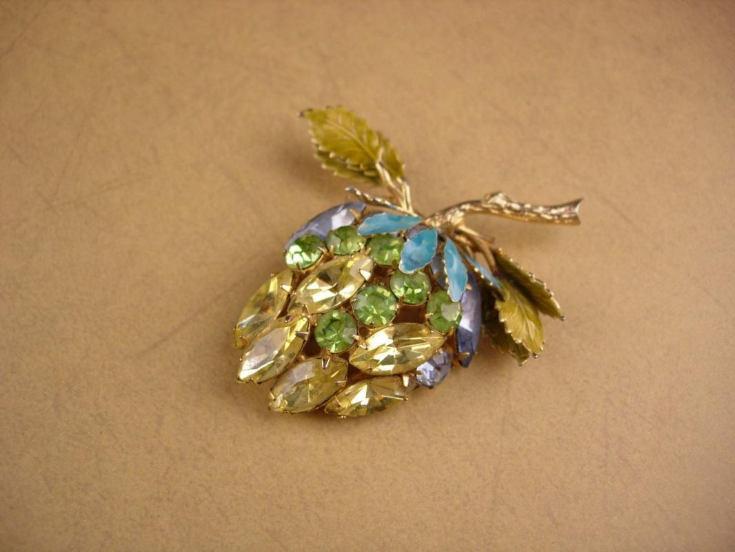 Vintage Alice Caviness Brooch - yellow fruit - rhinestone estate jewelry - strawberry pin - designer brooch