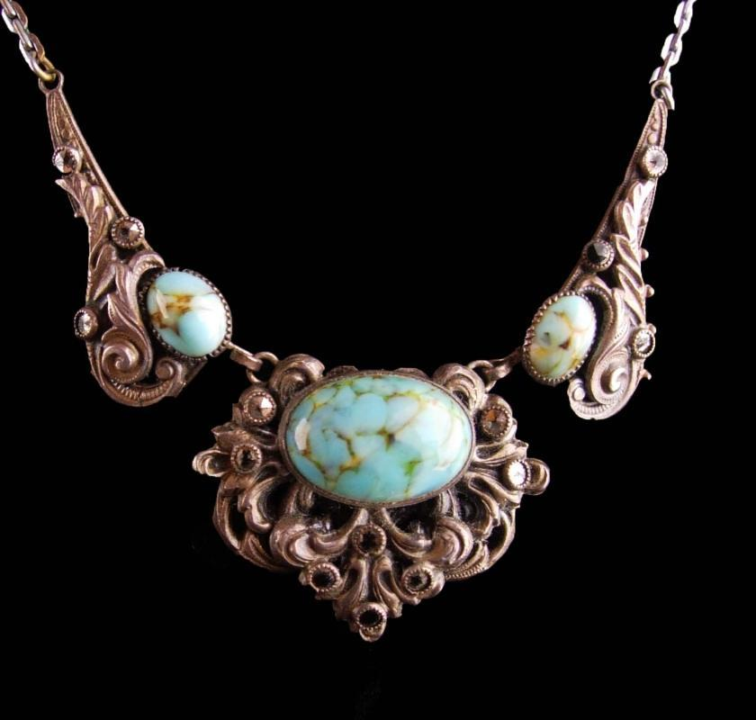 Antique persian turquoise necklace - vintage victorian filigree - marcasite bib -  something blue for the bride