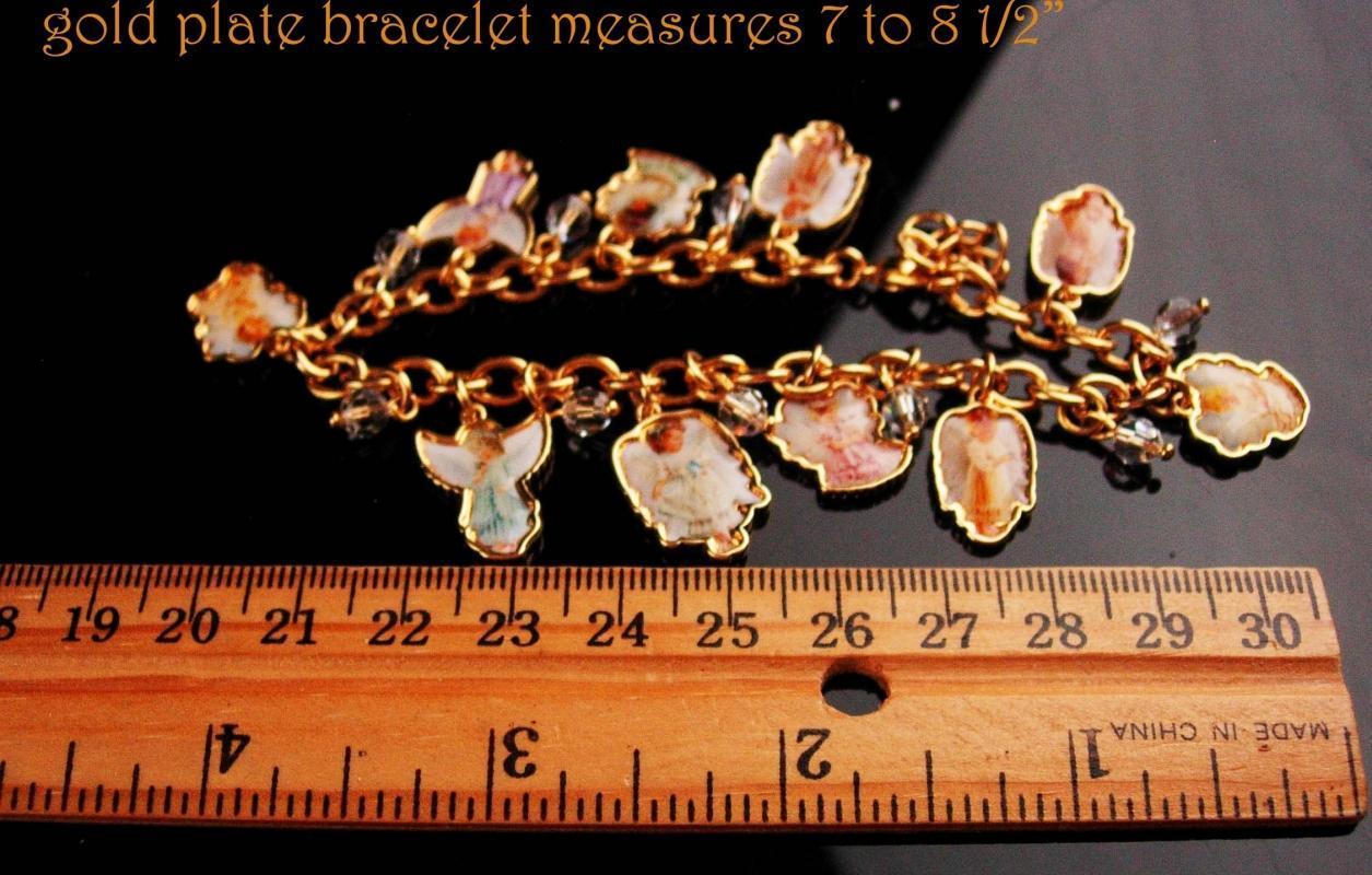Vintage Angel Charm bracelet - Grace devotion Faith - religious jewelry - enamel girl cherubs