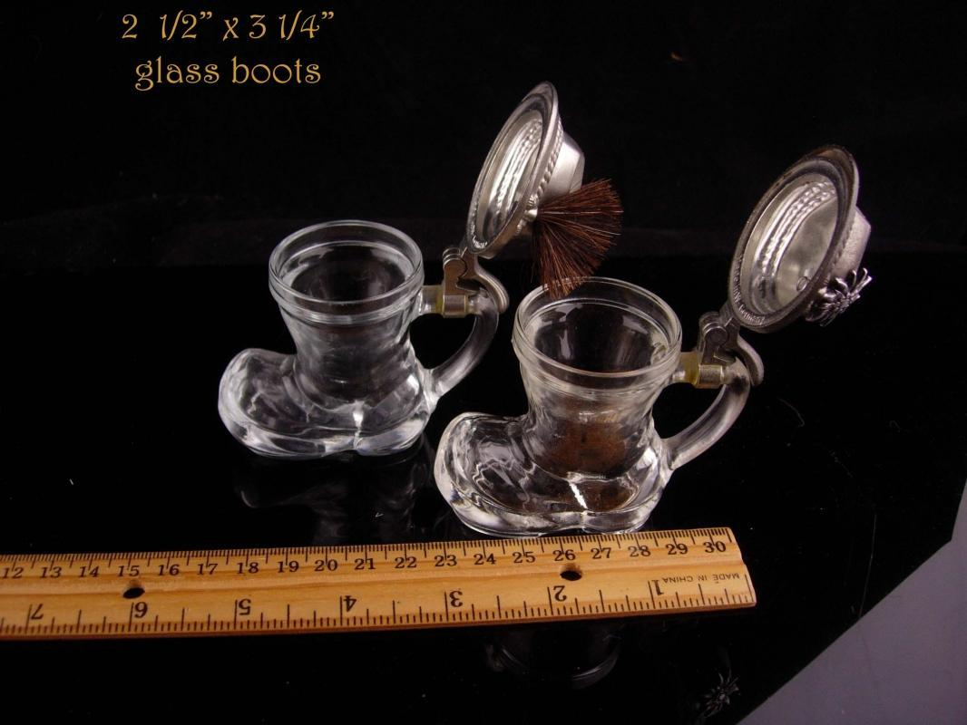 Vintage Shot glass set - german boots - hat badge - hinged lid - Beer drinker gift - edelweis flower bartender gift