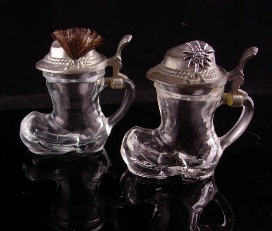 Vintage Shot glass set - german boots - hat badge - hinged lid - Beer drinker gift - edelweiss flower bartender gift