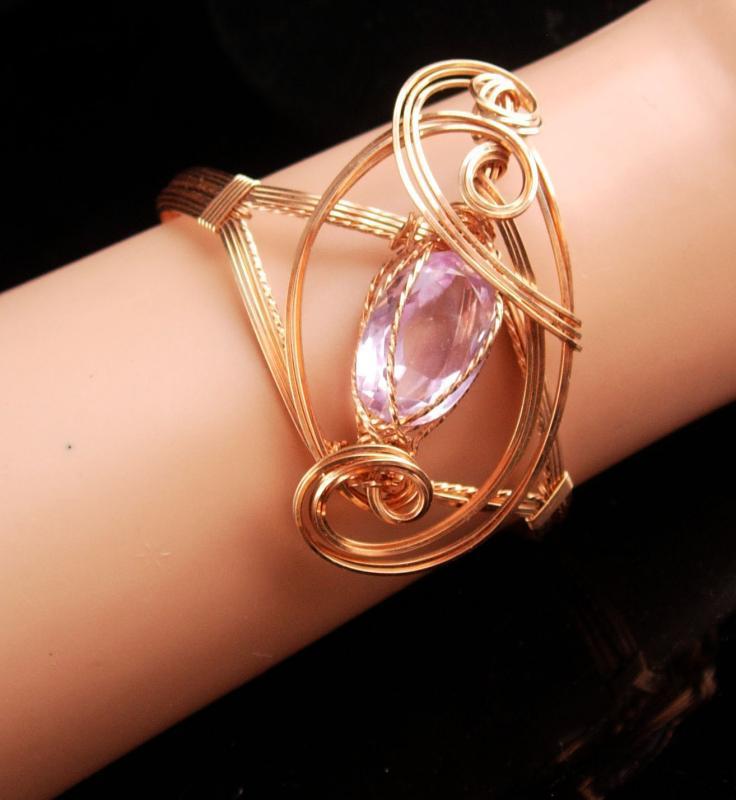 Large Statement Bracelet - Gold filled Amethyst cuff - Modernist design - OOAK - artist jewelry - February Birthstone