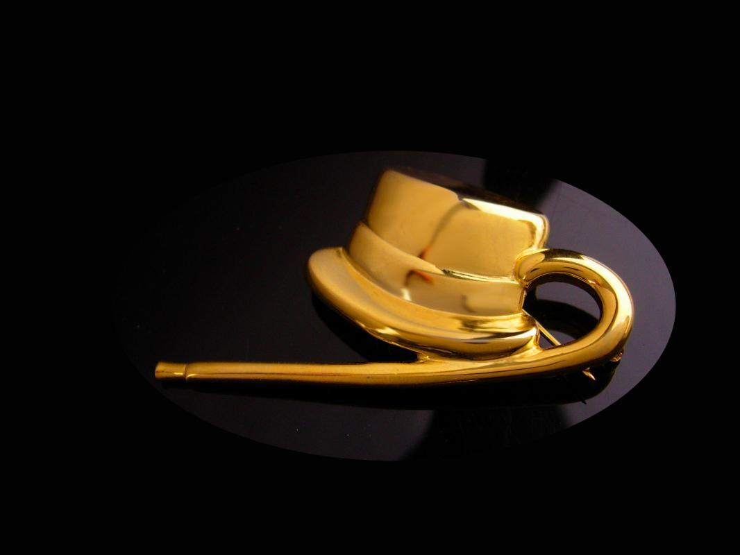 Magician cane Brooch - Vintage Top Hat -  Broadway entertainer - Ball Room Dance - mens cool gift