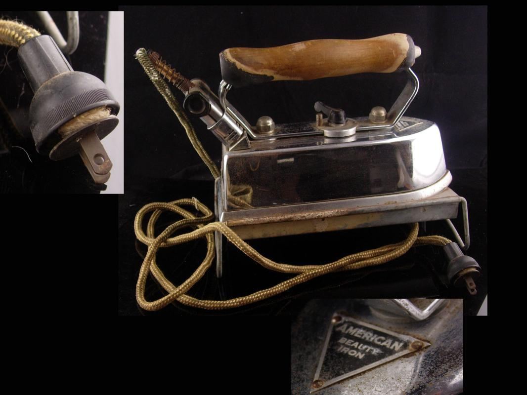 1910 Antique Iron - AMERICAN BEAUTY automatic heater - seamstress tailor gift - dressmaker accessory