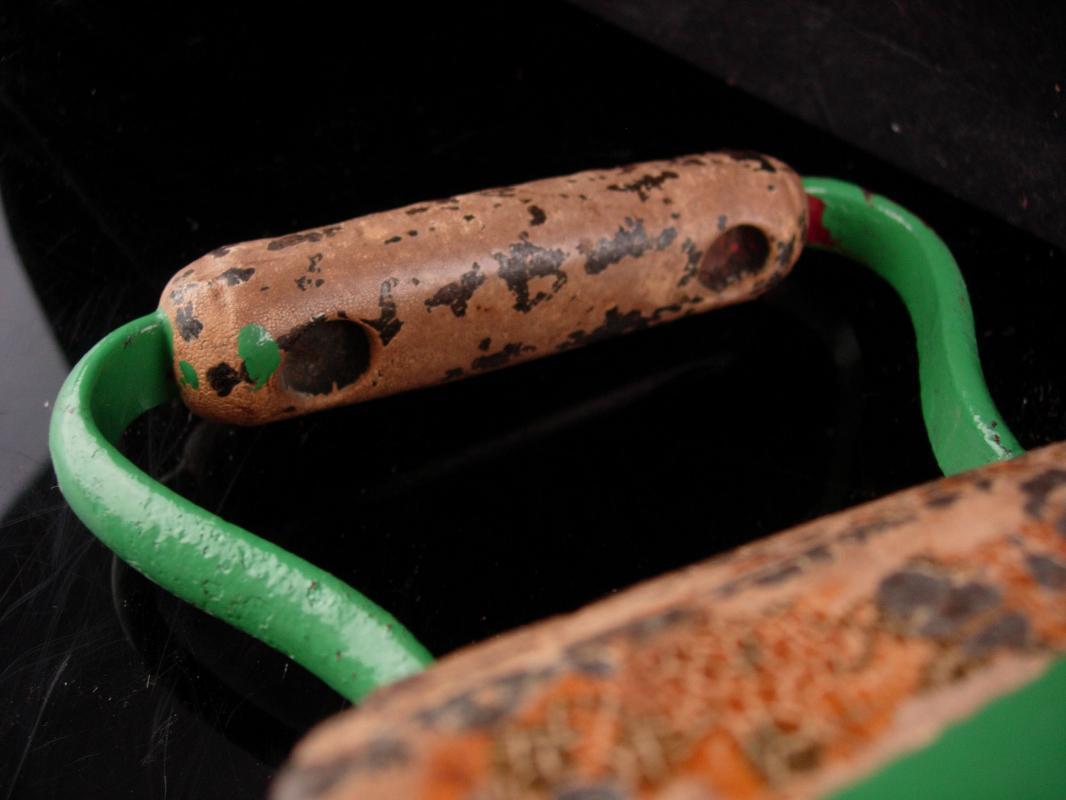Antique green Sad Iron - cast iron door stop - vintage ironing device - flat iron