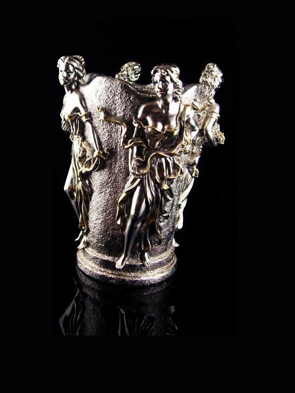 Vintage Goddess Vase - 4 seasons Urn - Horai silver bottle holder - Greek mythology - art nouveau women