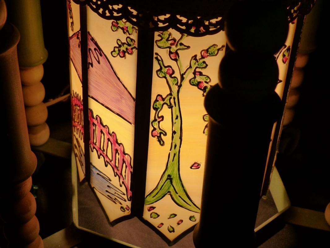 BIG Vintage Oriental Lamp - handpainted glass panels - hanging wrought iron - Asian pagoda - chinese lamp