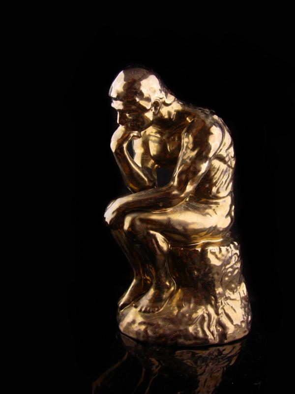 The thinker Statue - Vintage Nude french sculpture - graduation gift -  bronze ceramic poet 11