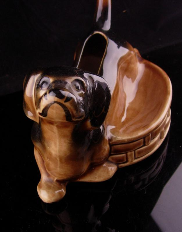 1950's Mens Dresser Caddy - Ceramic dachshund valet - whimsical dog gift - Pocketwatch wallet ring coin holder