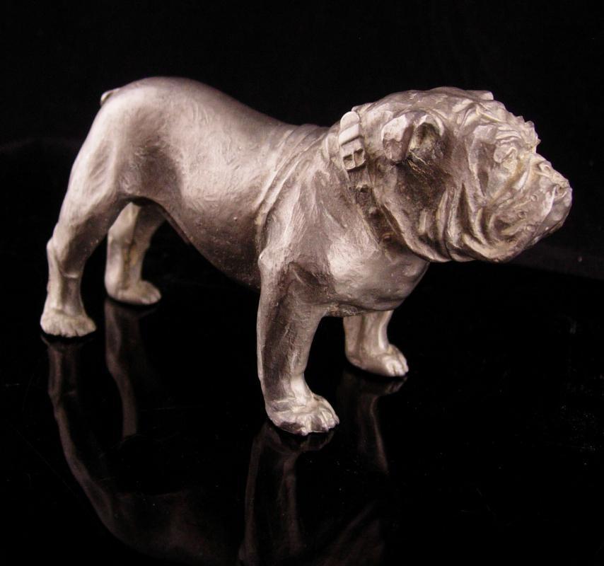 Vintage Metal Bulldog sculpture - buckle collar - MACK Truck statue - marine College football mascot - Figural dog lover