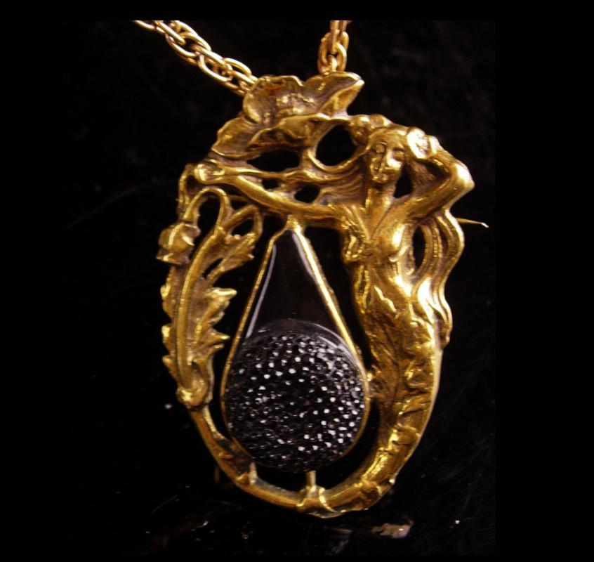 Vintage Mermaid Necklace - Art nouveau Brooch - Sailor Nautical - art Deco jewelry - mythical goddess - siren sea creature