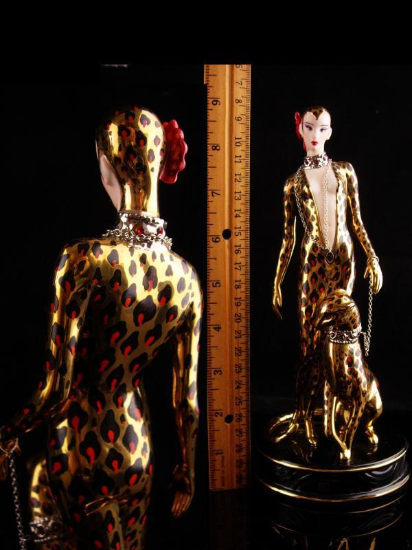 Exotic Leopard Goddess statue - Vintage Erte cat panther figurine -Art deco woman - cat lady gift