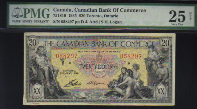 1935 $20 CANADIAN BANK OF COMMERCE PMG25