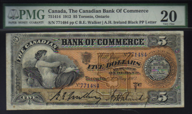 1912 $5 CANADIAN BANK OF COMMERCE PMG20