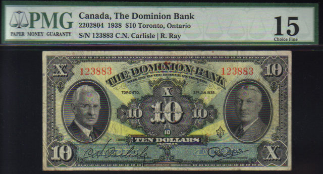 1938 $10 THE DOMINION BANK  PMG 15