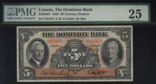 1938 $5 THE DOMINION BANK  PMG 25